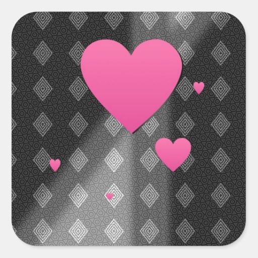 Corazones rosados en el regalo del modelo de los pegatina cuadrada