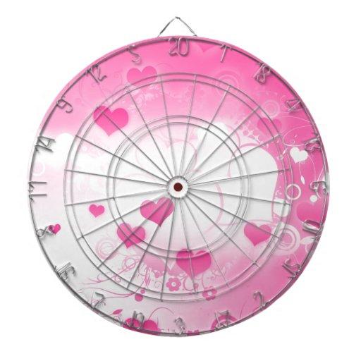Corazones rosados encantadores caprichosos de enca tabla dardos