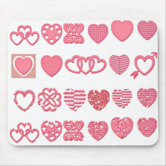 Corazones rosados femeninos alfombrilla de ratones