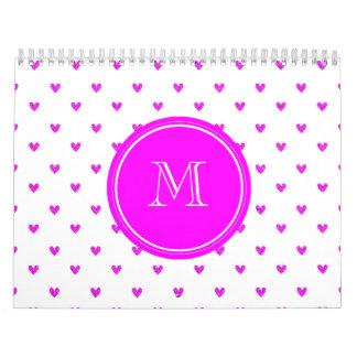 Corazones rosados fucsias del brillo con el monogr calendario de pared