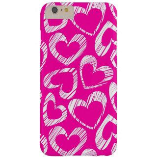 Corazones rosados funda de iPhone 6 plus barely there