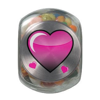 Corazones rosados jarras de cristal