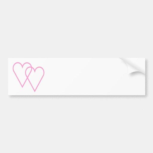 Corazones rosados ligados etiqueta de parachoque