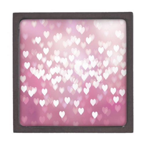 Corazones rosados lindos caja de regalo de calidad