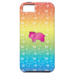 Corazones rosados lindos del arco iris del hipopót iPhone 5 protector