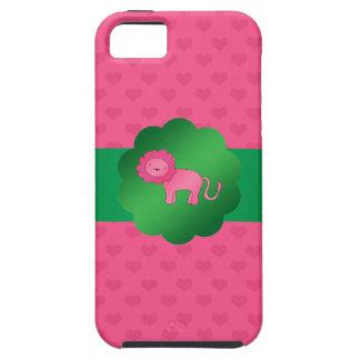Corazones rosados lindos del rosa del león iPhone 5 Case-Mate cárcasas