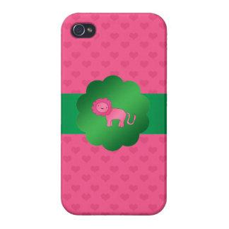 Corazones rosados lindos del rosa del león iPhone 4 fundas