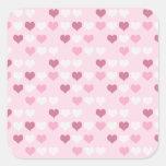 Corazones rosados lindos calcomania cuadradas personalizadas