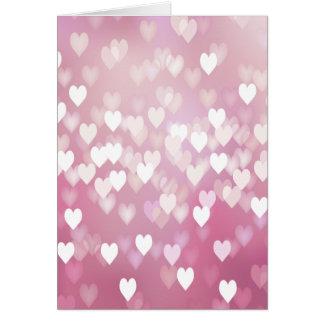 Corazones rosados lindos tarjetón