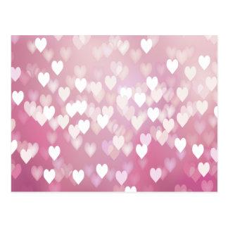 Corazones rosados lindos tarjetas postales
