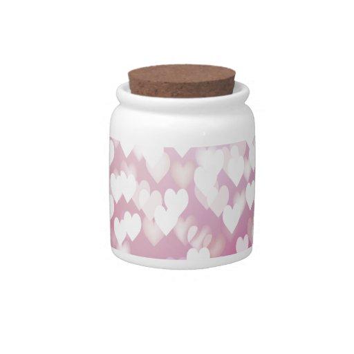 Corazones rosados lindos tarro de cerámica para dulces