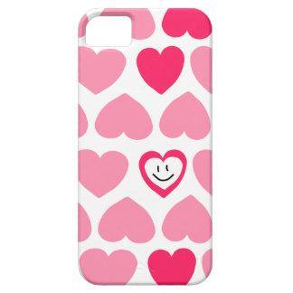 Corazones rosados lindos y cara sonriente iPhone 5 carcasas