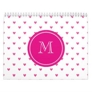 Corazones rosados mexicanos del brillo con el mono calendarios