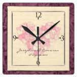 Corazones rosados minúsculos románticos relojes de pared