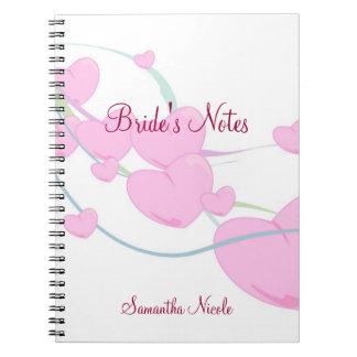 Corazones rosados mullidos cuadernos