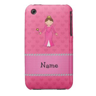 Corazones rosados personalizados de la princesa ro iPhone 3 Case-Mate funda