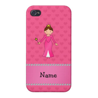 Corazones rosados personalizados de la princesa ro iPhone 4 protectores