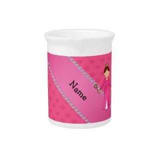 Corazones rosados personalizados de la princesa ro jarra de beber