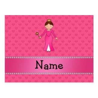 Corazones rosados personalizados de la princesa ro tarjetas postales