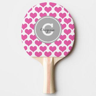 Corazones rosados personalizados pala de tenis de mesa
