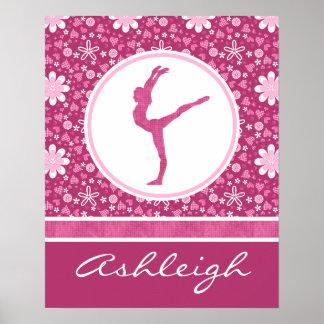 Corazones rosados personalizados y gimnasia floral póster