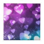 Corazones rosados púrpuras tejas  cerámicas