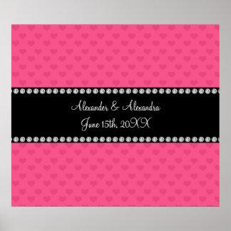 Corazones rosados que casan favores póster