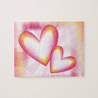 Corazones rosados románticos puzzle