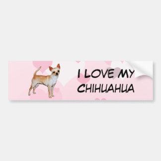 Corazones rosados y blancos de la chihuahua pegatina para auto