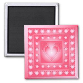 Corazones rosados y blancos lindos imán cuadrado