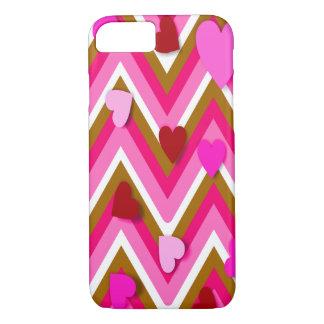 Corazones rosados y Cheverons Funda iPhone 7