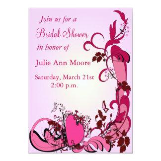 Corazones rosados y ducha nupcial de las flores invitación 12,7 x 17,8 cm