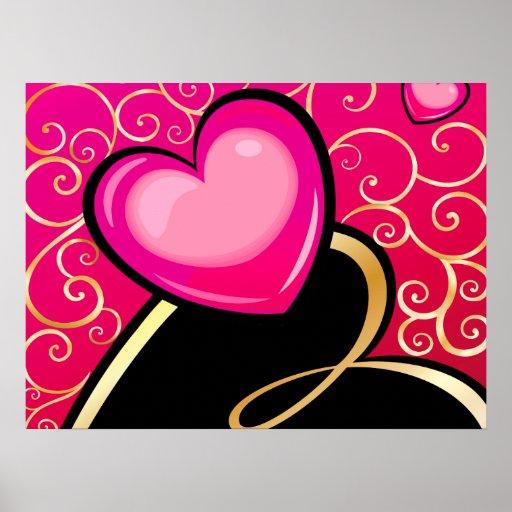 Corazones rosados y negros con remolinos de oro póster