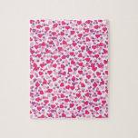 Corazones rosados y púrpuras de la tarjeta del día puzzles con fotos