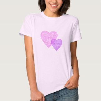 Corazones rosados y púrpuras de Scribbleprint Camisas