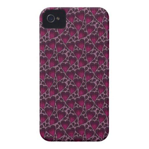 Corazones rosados y púrpuras enrrollados del amor iPhone 4 coberturas