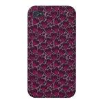 Corazones rosados y púrpuras enrrollados del amor iPhone 4 cárcasa