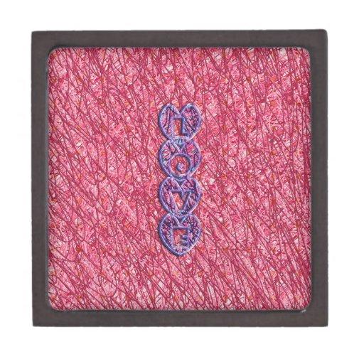 Corazones rosados y púrpuras lindos del amor caja de recuerdo de calidad