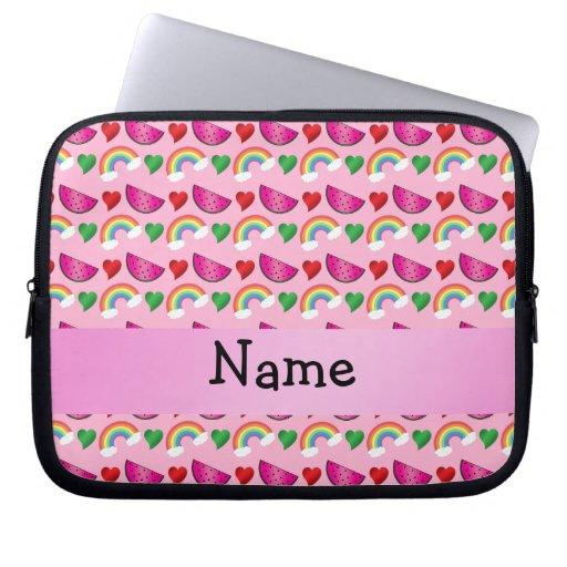 Corazones rosas claros conocidos de encargo de los fundas portátiles