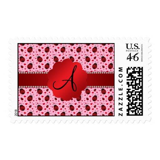 Corazones rosas claros de las mariquitas del monog envio