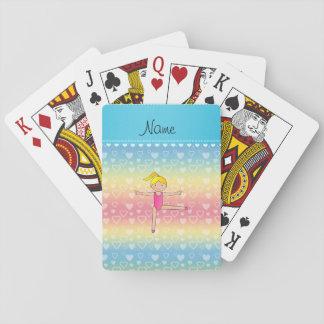 Corazones rubios conocidos personalizados del arco baraja de cartas