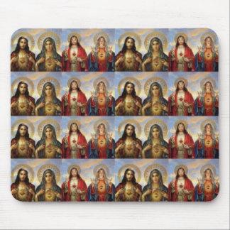 Corazones sagrados múltiples de Jesús y de Maria Tapete De Ratones