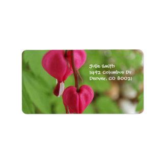 Corazones sangrantes rosados etiqueta de dirección