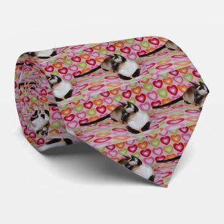 Corazones soñadores del gato siamés corbata personalizada