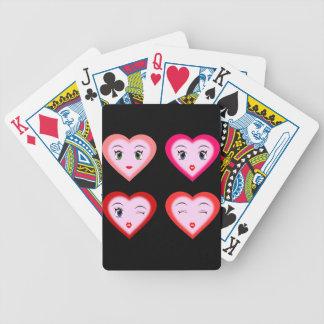 Corazones sonrientes coquetos baraja cartas de poker