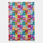 Corazones sonrientes multicolores toallas de cocina