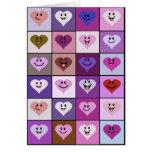 Corazones sonrientes rosados y púrpuras felicitaciones