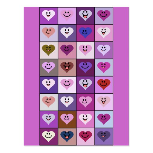 Corazones sonrientes rosados y púrpuras tarjetas postales