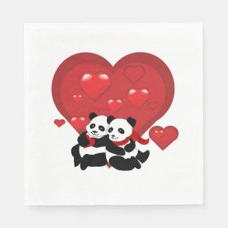 Corazones Std de los pares de la panda de la Servilleta De Papel
