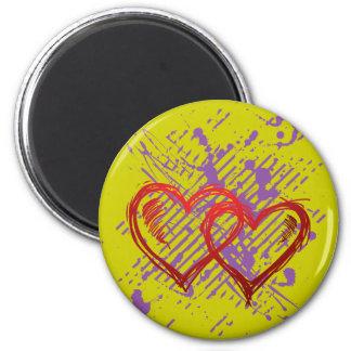 corazones transparentes del corazón de t imán redondo 5 cm